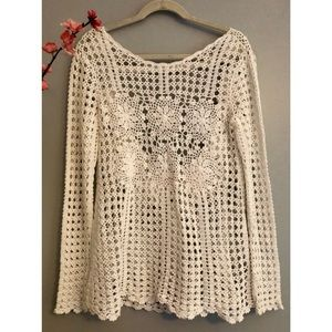 Like New Free People Open Knit Open Back Sweater